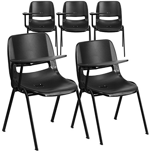 Flash Furniture 5 Pack Black Ergonomic Shell Chair with Right Handed Flip-Up Tablet Arm