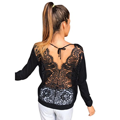 Kolylong® Sweatshirt Damen Frauen Elegante Spitze Rundhals Bluse Herbst Locker Langarm Shirts Rückenfreie Hemd V-Ausschnitt T-Shirt Tank Tops Oberteile (M, Schwarz)