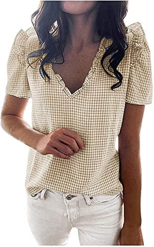 Rendon Blusa casual de verano para mujer con cuello en V y ajuste holgado