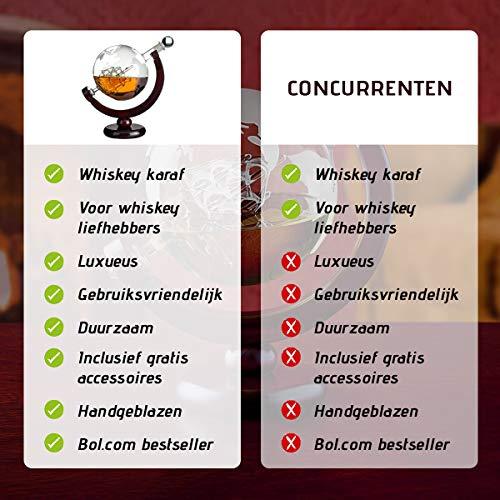 Whisiskey® Whiskey Karaffe - Globus - Whisky Karaffe Set - 900 ml - Geschenk für Männer und Frauen - Inkl. 9 Whisky-Steine und Schenktülle - 7