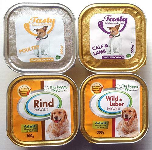 My Happy Pet´s 90 x 300g Hundefutter Pastete und Ragout 4 Verschiedene Sorten
