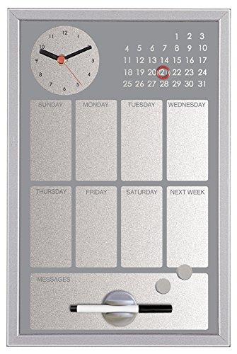 Bi-Office CG016652 Easy Black Planner met geïntegreerde klok en weekkalender, MDF-frame, gelakt staal, 30 x 45 cm, grijs