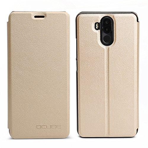 Handyhülle für Ulefone Power 3 95street Schutzhülle Book Case für Ulefone Power 3, Hülle Klapphülle Tasche im Retro Design mit Praktischer Aufstellfunktion - Etui Gold