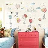 Tonver, adesivi da parete per fai da te, a forma di coniglio e palloncino, in 3D, autoadesivi, creativi, motivo cartoni animati, per camera da letto, soggiorno, camera dei bambini