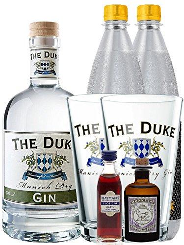 Gin-Set The Duke München Dry BIO Gin 0,7 Liter + Haymans Sloe Gin 5cl + Monkey 47 Schwarzwald Dry Gin 5cl MINIATUR + 2 x Thomas Henry Tonic Water 1,0 Liter + 2 x The Duke Long Drink Glas 0,3 Liter