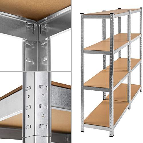 TecTake Werkstattregal mit 8 Ablagen 640kg Gesamttraglast Steckregal Lagerregal Werkbank Garage 160x160x40cm - 4