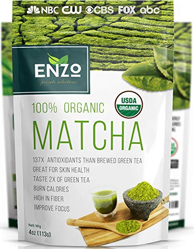 Matcha Green Tea Powder 4oz - Organic Vegan Milky Taste USDA Certified - 137x Antioxidants Over Brewed Green Tea- Great for Matcha Latte, Smoothies, Ice Cream and Baking + Alter