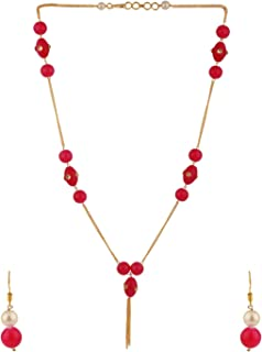 Archi Collection Beaded Delicate Pink Mala Chain Necklace Earrings Jewellery Set for Women Girls