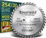 Bayerwald - HM Tischkreissägeblatt Ø 254 mm x 2,8 mm x 30 mm (Für Holz, Spanplatten, Profilleisten etc.)   Kombinebenlöcher für Bosch GTS 10 & PTS 10 (40 Zähne)