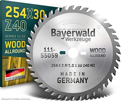 Bayerwald - HM Tischkreissägeblatt Ø 254 mm x 2,8 mm x 30 mm (Für Holz, Spanplatten, Profilleisten etc.) | Kombinebenlöcher für Bosch GTS 10 & PTS 10 (40 Zähne)