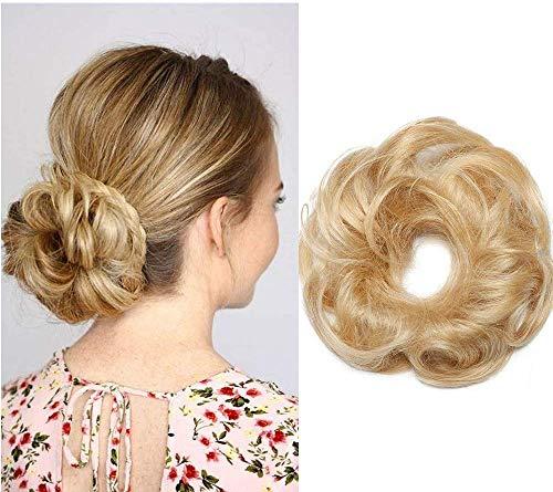 Chouchou Chignon Cheveux Naturel Donut Femme Bouclé - #613 Blond Très Clair - Postiche Chignon Ondulé 100% Cheveux Humain Naturel Queue De Cheval