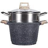 Steamer/Stock Pot Vaca Capacità domestica Ampia Capacità addensata 304 Pentola a vapore in acciaio inox per stufa a gas (Size : 22cm)