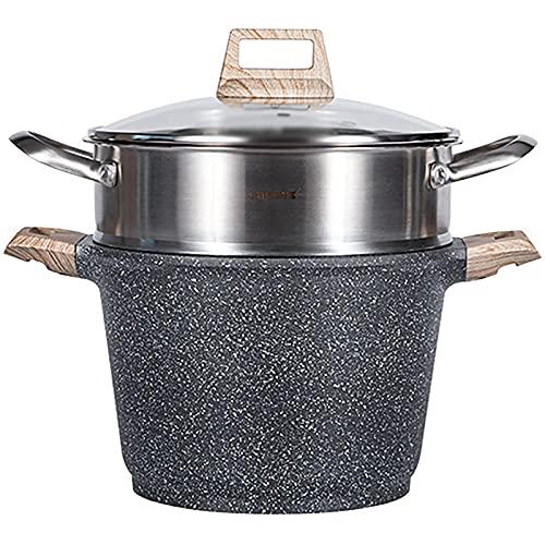 Vapor/Pottom Hogar de gran capacidad FLESEED 304 Steamer de acero inoxidable Pote de doble propósito para la estufa de gas (Size : 24cm)
