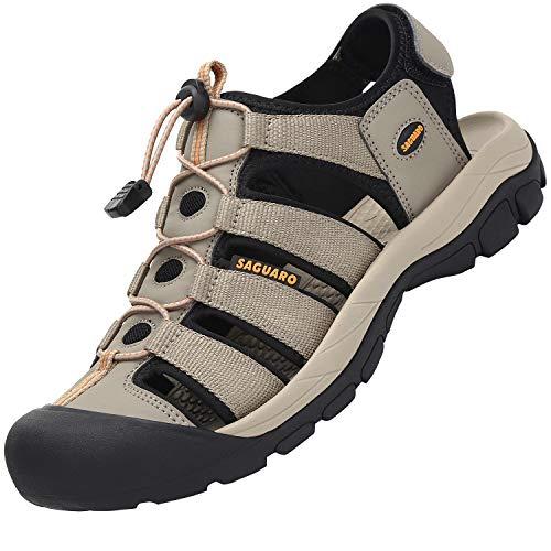 SAGUARO Sandalias de Montaña Sandalias Deportivas Hombres Mujers Verano Exterior Senderismo Zapatos Trekking Casual Zapatos de Montaña Cuero Sandalias de Playa, Caqui 40