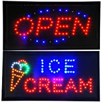 Open & IceクリームAnimated LED Signs StoreネオンビジネスShop Cafe Light On / Offスイッチ