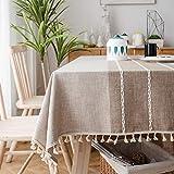 Sunbeauty Mantel Mesa Rectangular Tela Algodon Lino con Borlas Empalmado Table Cloth Rectangle para Mesa de Comedor Cocido - 140x200cm
