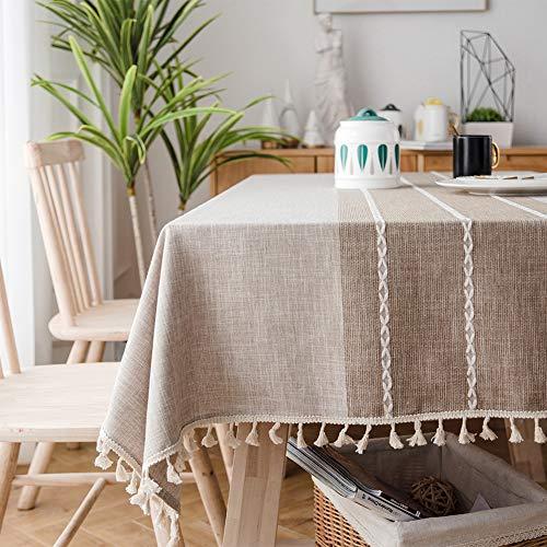Sunbeauty Mantel Mesa Rectangular Tela Algodon Lino con Borlas Mantel Elegante Antimanchas 140x180 cm Table Cloth Rectangle para Mesa de Comedor de Cocina