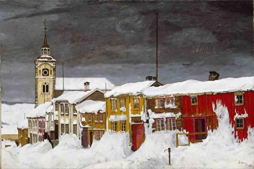 rrrrrr Alfombras de Nieve en pueblos pequeños en Invierno,Castillos Antiguos y Casas Cubiertas por Nieve intensa,alfombras de Franela Suave y duraderas Antideslizantes en los baños