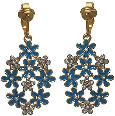 PRETTY Gold plated Turquoise Flower Crystal Clip On Earrings