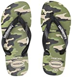 Havaianas Kid's Top Camu Flip Flop Sandal, Beige/Black, 2 M US Little Kid