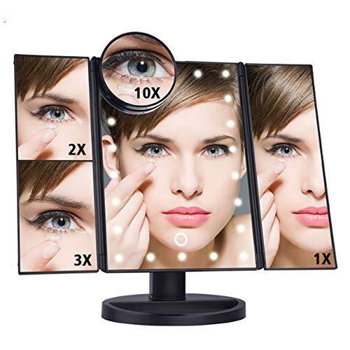 DSGG Kosmetikspiegel Mit Beleuchtung Faltbarer Standspiegel Mit 3x/10x Fache Vergrößerung Touchscreen 90° Schwenkbar Für Make Up Und Rasur,Schwarz