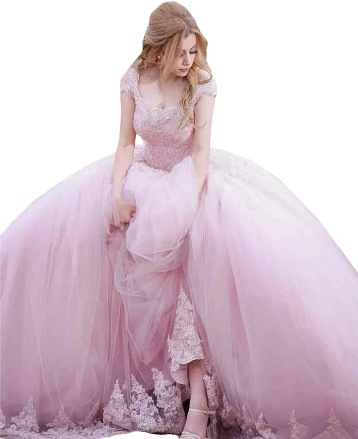 WZW Pink Ball Gown Quinceanera Dresses Short Sleeve Appliques Beaded Sweet 15 Dress Plus Size Princess Prom Gown 2019