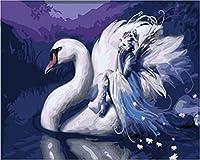 デジタル油絵白鳥のユニークなギフトデジタル油絵キャンバス上のデジタル装飾絵画現代の抽象的な油絵