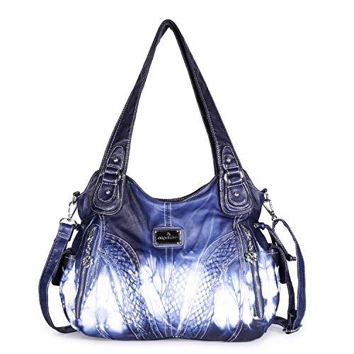 Angelkiss Women Top Handle Satchel Handbags Shoulder Bag Messenger Tote Washed Leather Purses Bag Z-Blue