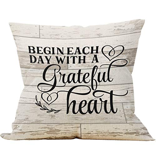 Mancheng-zi Begin Each Day with A Grateful Heart Throw Pillow Case, Vintage Country Style Inspirational Quote Decoration, 18 x 18 Inch Decorative Cotton Linen Cushion Cover for Sofa Couch Bed
