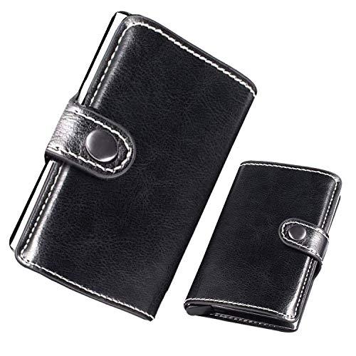 Tarjetero para Tarjeta de Crédito, PU Cartera Mini de Aluminio con RFID Bloqueo 9 Tarjetas para Mujer y Hombre LOCN