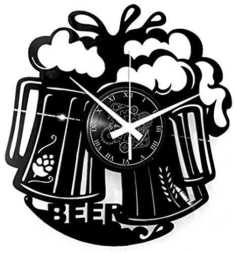 JKRFV Record Clock Negro Jarro de Cerveza Record De Vinilo Reloj De Pared 12 Pulgadas decoración Siete Colores Led Decoración para El Hogar