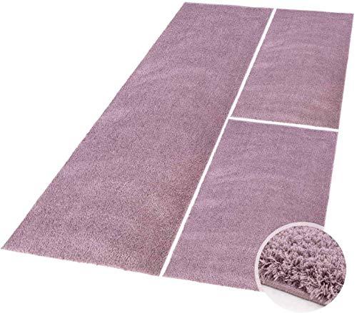 carpet city Bettumrandung Shaggy aus hochwertigen Micro-Polyester, Hochflor Teppich-Läufer in Einfarbig/Pastell-Lila für Schlafzimmer