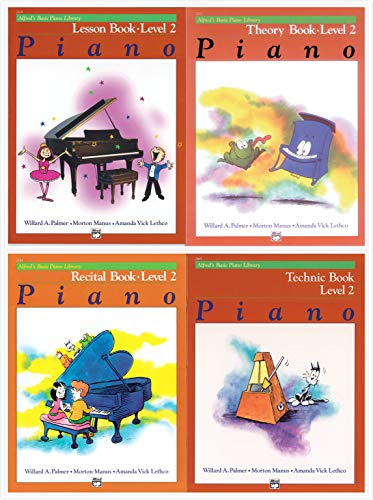 Alfred's Basic Piano Library: Level 2 Books Set (4 Books) - Lesson Book 2, Theory Book 2, Recital Book 2, Technic Book 2