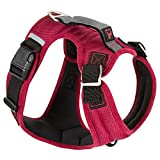 Gooby - Pioneer Dog Harness, Small Dog Head-in Harness with Control Handle and Seat Belt Restrain Captability, Red, Medium