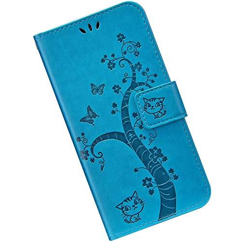 Kompatibel mit Samsung Galaxy S20 FE 5G Handyhülle Lederhülle Flip Case,Retro Katze Schmetterling Muster Schutzhülle mit Kartenfächer Handschlaufe Wallet Tasche Case Brieftasche Klapphülle,Blau