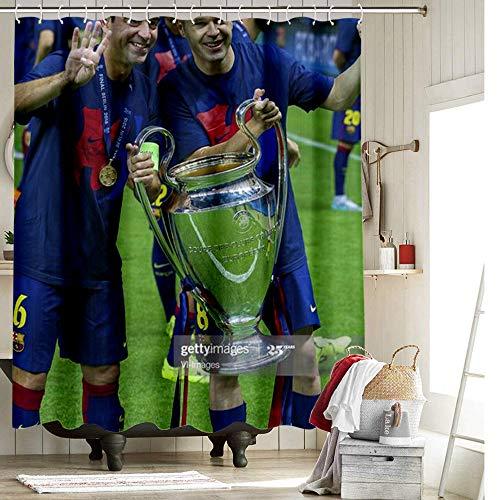 DRAGON VINES Cortina de ducha con gancho extra larga para cortina de ducha xavi iniesta Champions League baño de invitados de 156 x 182 cm