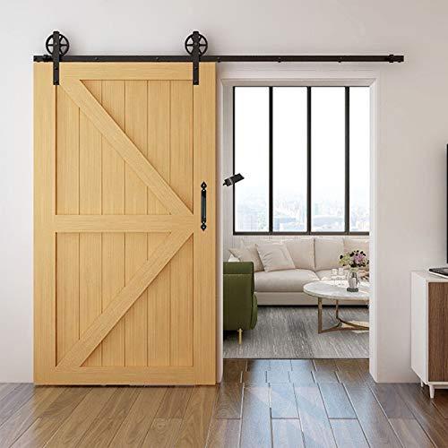 WOLFBIRD Riel para puerta corredera de 200 cm, kit de accesorios con tirador para puerta con forma de corazón, negro