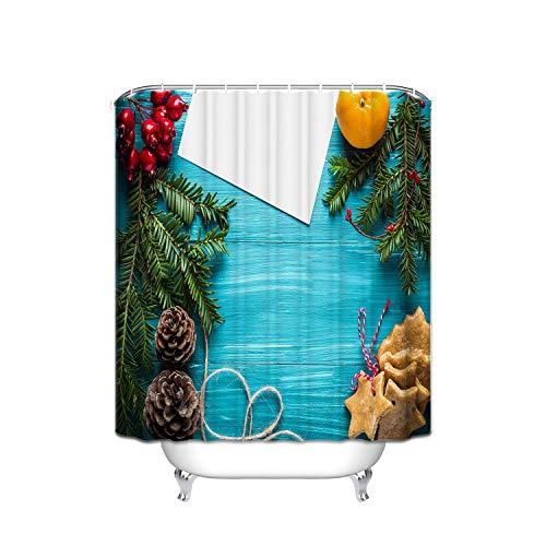 BSYZ Duschvorhänge aus Holz, bedruckter Duschvorhang aus Polyester, Kirschholzplatte aus Christbaumkiefernzapfen, Duschwand aus Polyesterfaser mit Haken, 36 x 72 Zoll, blaugrün