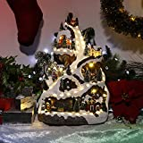 Alpine Corporation WHS102WW Animated Winter Wonderland Set with LED Light and Music Festive Christmas Holiday Indoor Decor for Home, 18-Inch Tall, Multicolor