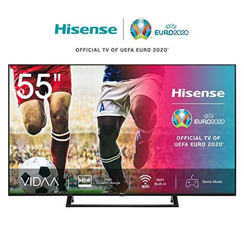 Hisense 55AE7200F 139 cm (55 Zoll) Fernseher (4K Ultra HD, HDR, Triple Tuner DVB-C/S/S2/T/T2, Smart-TV, Mittelstandfuß, Frameless, Bluetooth, Alexa) [Modelljahr 2020]
