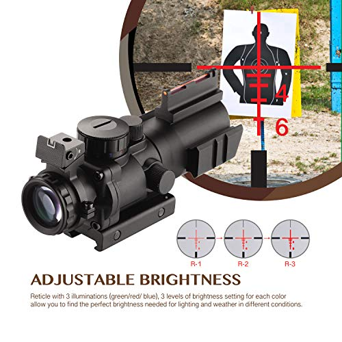 AOMEKIE Air Rifle Scope 4X32mm Red/Green/Blue Illuminated Rapid Range Reticle Airsoft Red Dot Sight Scope with Top Fiber Optic Sight and 11mm/22mm Picatinny Rail Mount for Hunting