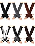 6 Pairs Women Long Fingerless Gloves Arm Warmers Knit Thumbhole Stretchy Gloves