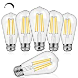 6-Pack 8W Dimmable Edison LED Light Bulbs 100W Equivalent, Vintage ST64/ST21 LED Filament Bulbs with 1000LM, 3000K Soft Warm White Lighting, E26 Medium Base Clear Glass for Home, Office, Restaurant