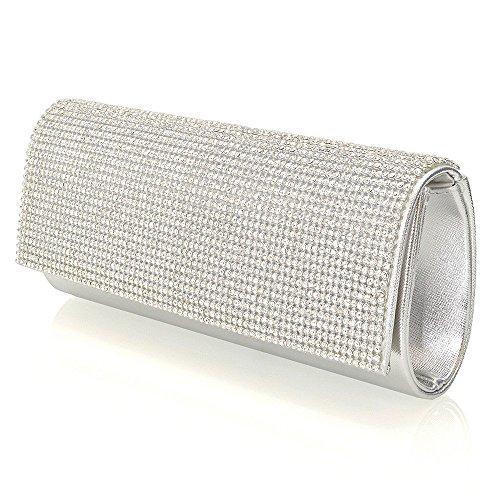 ESSEX GLAM Abentasche Clutch Fukelnden Strassstein Mit Zusätzlichen Ketten Silber