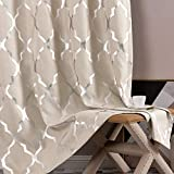 jinchan Linen Textured Curtains for Living Room Darkening Drapes Foil Moroccan...