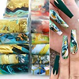 Marble Nail Art Foils Transfer Stickers Nail Art Supplies Foil Transfers Decals Marble Nail Foil Adhesive Sticker Starry Sky Paper for Women Girls Nail Art Decoration DIY Manicure Design