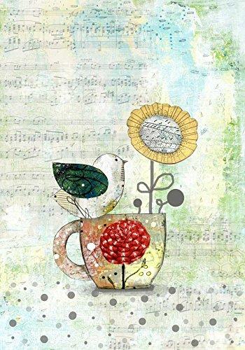 AFDRUKKEN-op-GEROLDE-CANVAS-Vogel-op-een-kopje-thee-Ogren-Sarah-Dieren-Afbeelding-gedruckt-op-canvas-100%-katoen-Opgerolde-canvas-print-Kunstdruk-op-gerold-Afmeting-89_X_62_cm