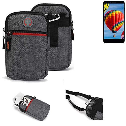 K-S-Trade® Gürtel-Tasche Für Vestel V3 5030 Handy-Tasche Holster Schutz-hülle Grau Zusatzfächer 1x