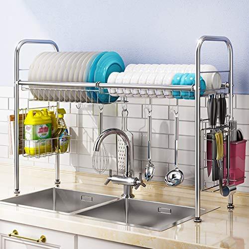 Über der Spüle Geschirr Wäscheständer, Edelstahl Abtropffläche Display Regal, Arbeitsplatte Space Saver Stand Geschirr Organizer mit Utensilienhalter (Size : 88 * 28 * 65cm)