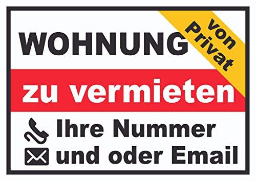 HB-Druck Wohnung zu vermieten von privat Schild A6 (105x148mm)